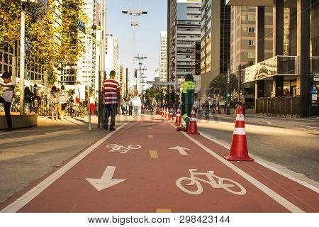 Sao Paulo, Brazil - May 15, 2018: Paulista Avenue. Bike Path Of Paulista Avenue.