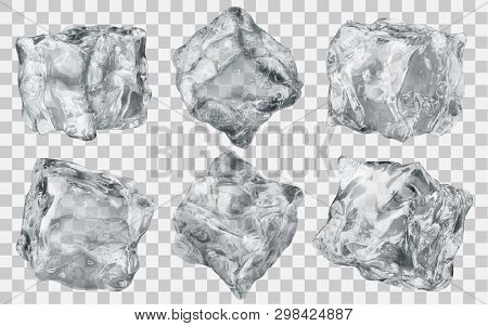 Set Of Six Realistic Translucent Ice Cubes In Gray Color Isolated On Transparent Background. Transpa