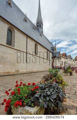 Beaune, France - August 10, 2017: The Hospices De Beaune Is A Former Charitable Almshouse In Beaune.