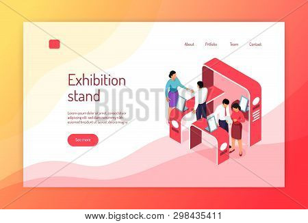 Isometric Expo Concept Banner Website Page Design With Images Of Exhibit Racks People And Clickable