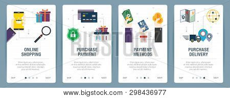 Vector Set Of Vertical Web Banners With Online Shopping, Purchase Payment, Payment Methods, Purchase