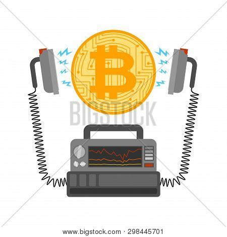 Defibrillator And Bitcoin. Cryptocurrency Launch. Medical Device. Electropulse Therapy Of Btc. Busin