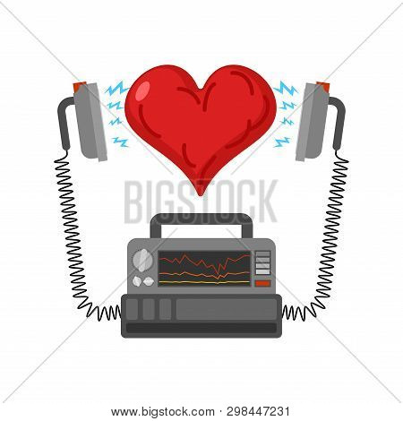 Defibrillator And Heart. Medical Device. Electropulse Therapy Of Heart Rhythm Disorders.