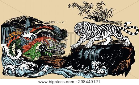 Green Chinese East Asian Dragon Versus White Tiger In The Landscape With Waterfall,rocks And Water W