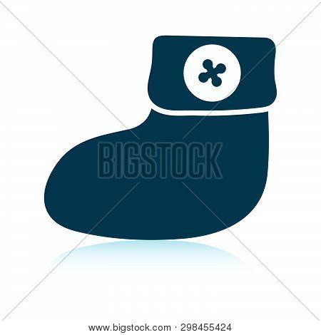 Baby Bootie Icon. Shadow Reflection Design. Vector Illustration.