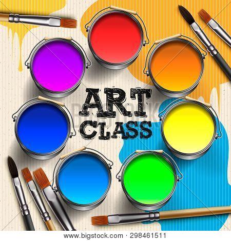 Art Class, Workshop Template Design. Kids Art Craft, Education, Creativity Class Concept, Vector Ill