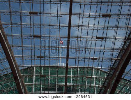 Atrium With Blue Sky And American Flag