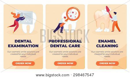 Set Dental Examination, Professional Dental Care, Enamel Cleaning. Man Looking For Microbes On Tooth