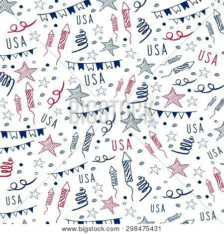 4th Of July. Usa Independence Day Celebration Banner. Hand Draw Doodle Pattern. Vector Illustration.
