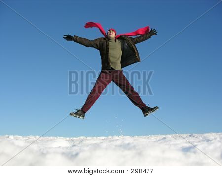 Fly - Jump Happy Man. Winter.