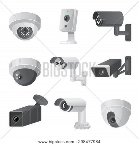 Set Of Modern Security Camera, Outdoor Or Indoor Mode