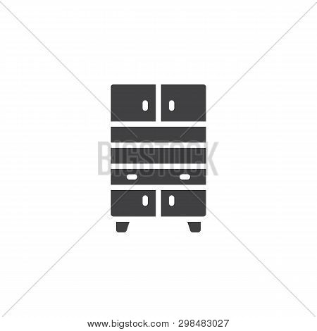 Vintage kitchen cupboard vector icon. filled flat sign for mobile concept and web design. Cupboard with drawers glyph icon. Symbol, logo illustration. Pixel perfect vector graphics poster