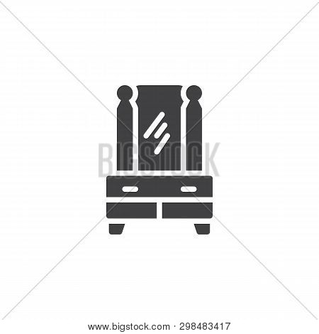 Mirror Furniture Vector Icon. Commode With Mirror Filled Flat Sign For Mobile Concept And Web Design