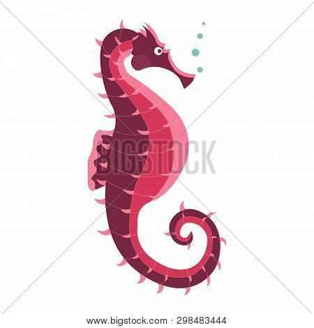 Red Sea Horse Icon. Underwater Hippocampus Seahorse Fish Illustration In Cartoon Style.