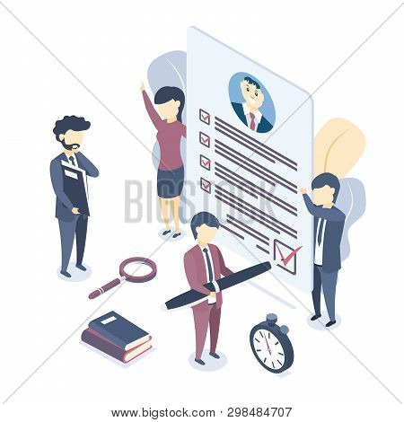 Isometric Vector Illustration.  Document With Personal Data, Application For Employment, Professiona