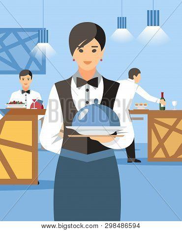 Waitress With Hot Dish And Lid Cartoon Character. Restaurant Personnel At Buffet Flat Vector Illustr