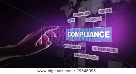 Compliance Concept With Icons And Text. Regulations, Law, Standards, Requirements, Audit Diagram On