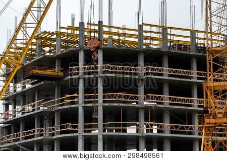 Building Construction On Monolithic Technology. Construction Of The Building. Concrete Frame Of The