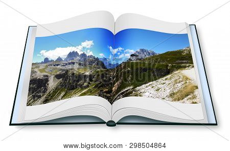 Opened Photobook Isolated On White Background With Wonderful View Of The Dolomites (italy).