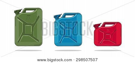 Canisters Illustration In Different Colors With Litre Numbers On Each, Isolated Vector