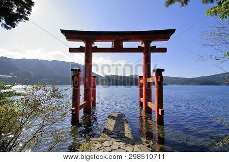Lake Ashi And Lakefront Torii Of Hakone Shrine In Kanagawa, Japan