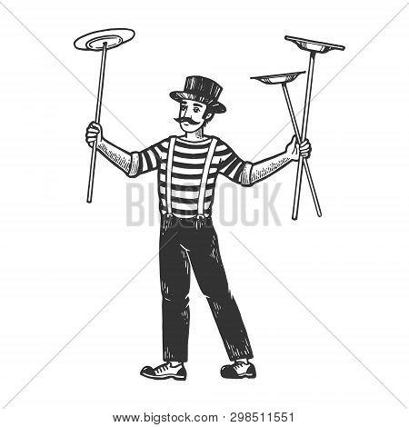 Circus Juggler Balancing Plates On Sticks Performance Sketch Engraving Vector Illustration. Scratch