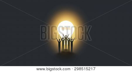 New Possibilities, Hope, Dreams - Men Standing In The Dark In Front Of A Glowing Light Bulb - Busine