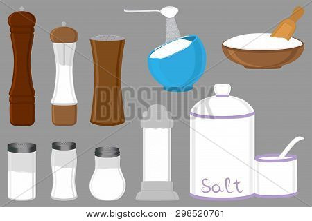 Illustration On Theme Big Set Different Types Shaker Filled Salty Salt, Bowl Various Size. Salty Sal