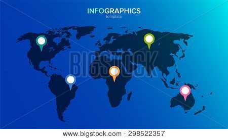 World Map Infographic. 5 Multi-colored Pins On The Continents. Vector Illustration In Flat Style For