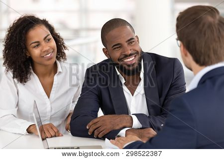 Happy African Family Couple Listen Realtor Insurer Consulting Clients