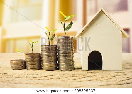 Property Investment, Home Loan, House Mortgage ,real Estate Financial Concept. Plant On Stack Money