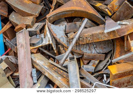 Recycling Plant Site Filled With Scrap Metal, Industrial Garbage.