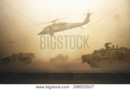 Military Forces And Tanks And Helicopters Between Storm & Dust