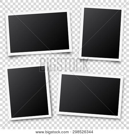 Photo Card Frame, Film Set. Retro Vintage Photograph With Shadow. Digital Snapshot Image. Photograph