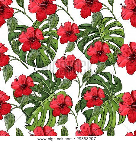 Seamless Pattern With Hand Drawn And Colored Sketch Of Hibiscus Flowers And Monstera Leaves. Element