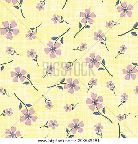 Pastel Smoky Pink Hand Drawn Flowers On Watercolour Effect Etched Yellow Background. Seamless Vector