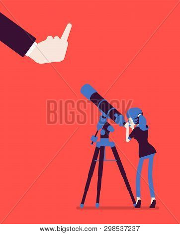 Businesswoman Seeing No Expectation Of Good Or Success. Female Manager Watching Telescope For Predic
