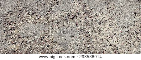 Vintage Abstract Closeup Of Black Old Concrete Texture On Dark Background For Decorative Design. Vin