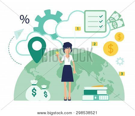 Bank Office Female Professional Manager. Financial Center Modern Corporate Design, Woman Of Banking