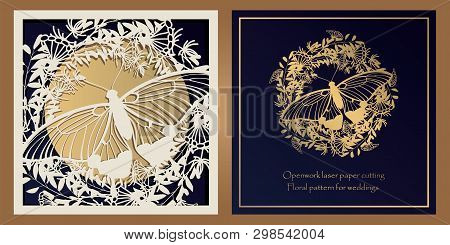 Envelope Design, Invitations For Laser Paper Cutting. Square Pocket With A Floral Pattern, An Openwo