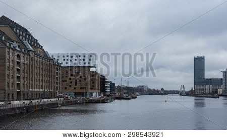 Berlin, Germany- December 12, 2018: View Of The River Spree From The Oberbaunum Bridge, Double-deck