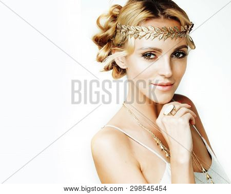 Young Blond Woman Dressed Like Ancient Greek Godess, Gold Jewelry And Fashion Makeup, People Isolate