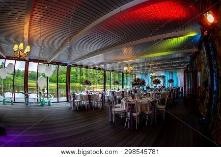 Luxury Decorated Place For Wedding Reception Catering In Restaurant Next To The Pond. Guest Tables I