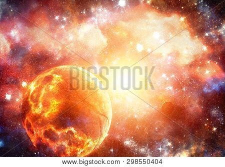 Abstract Artistic Unique Fiery Exploding Planet In A Bright Supernova Background