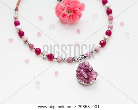 Beautiful Handmade Silver Necklace With Agate Beads And Druse Plum Gemstone Agate, Lying Flat On The