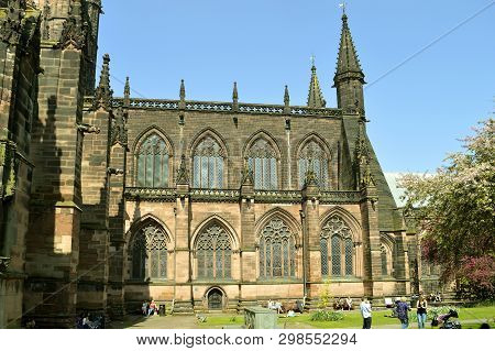 Chester, Cheshire, England, Uk, Europe - April 19, 2019 : The Historical Chester Cathedral Is A Chur