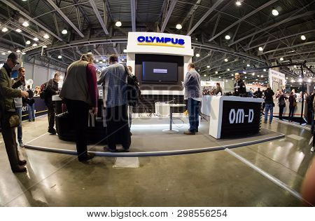 Moscow, Russia - April 11, 2019: Booth Of Olympus Company At Photoforum 2019 Trade Show And Exhibiti
