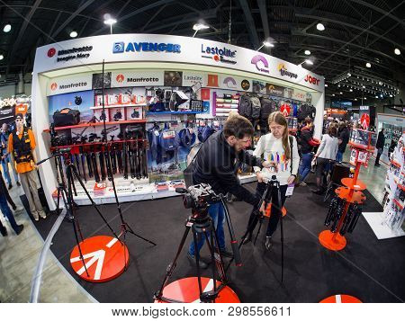 Moscow, Russia - April 11, 2019: Common Booth Of Manfrotto, Avenger, Lastolite, Colorama, Lowepro An