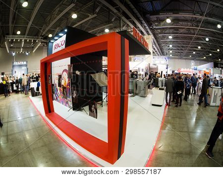Moscow, Russia - April 11, 2019: Booth Of Ricoh Company At Photoforum 2019 Trade Show And Exhibition