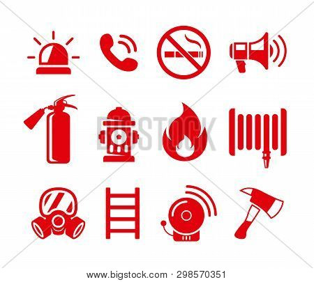 Set Of Fire Safety Vector Icons. Fire Emergency Icons Set.